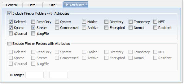 File Attributes Criteria. Active@ UNDELETE