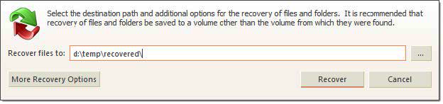 File Recovery dialog. Active@ UNDELETE