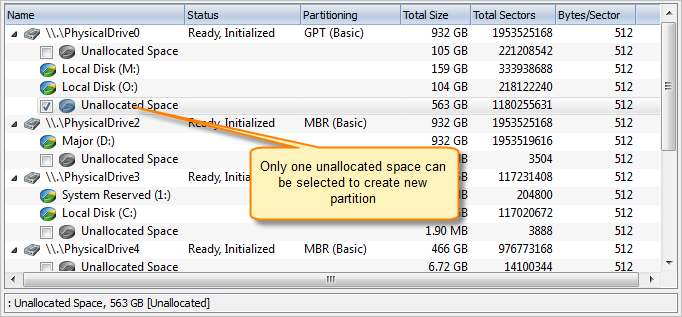 Select unallocated space