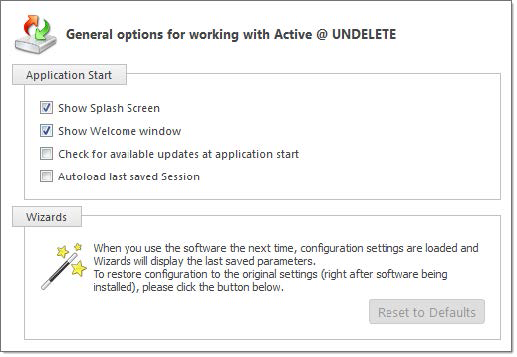 General settings. Active@ UNDELETE